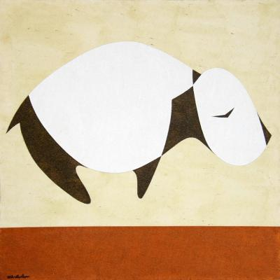 Dog, 2012, Natural sand and acrylic on canvas, 100x100cm