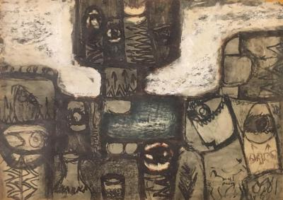 Untitled B13, 1971, Mixed media on paper, 50 x 70 cm