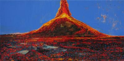 your volcany.. acrylic, goldenacrylic,oil on canvas, 25x50cm