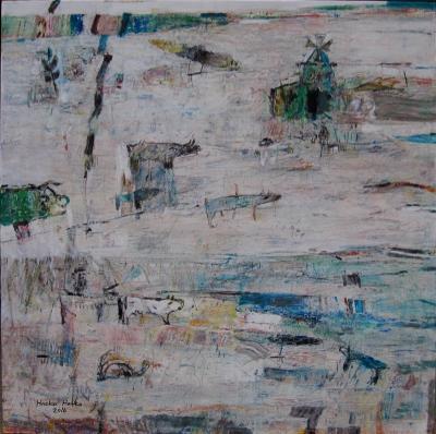 Visitors 2, 2016, Acrylic on canvas, 100x100cm