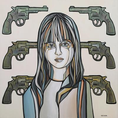 Guns, 2019, Acrylic & paper collage on canvas, 100 x 100 cm
