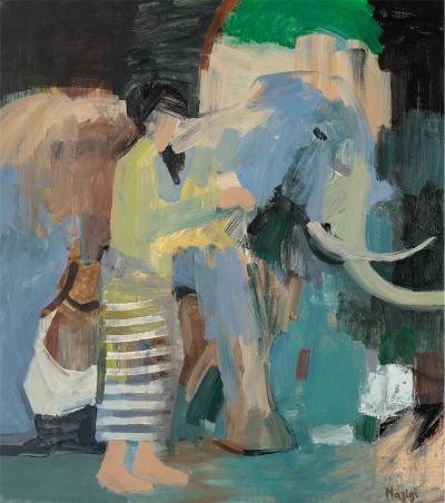 Le voyage de l'éléphant,2016, Acrylic on linen, 70x62 cm