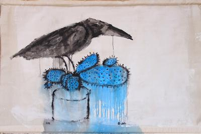 crow on a blue cactut, 2018, mixed media on canvas, 97x 138cm