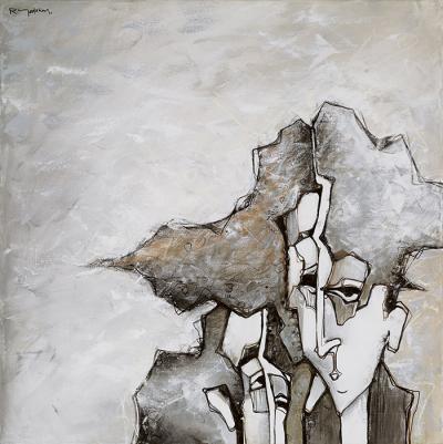 Mutual Conversation, 2014, Acrylic on canvas, 100 x 100 cm