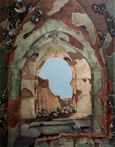 Ruins of Ain El Mrayssi 2, 2016, Acrylic on canvas, 150x120cm