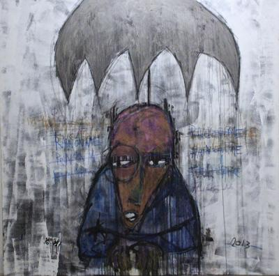 Umbrella above the rain, Acrylic and pastel on canvas, 2014, 140x140 cm