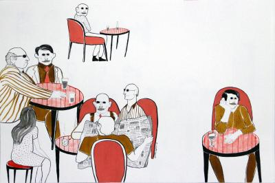 In the coffee shop 1,2016, ink and acrylic on paper, 65x50 cm
