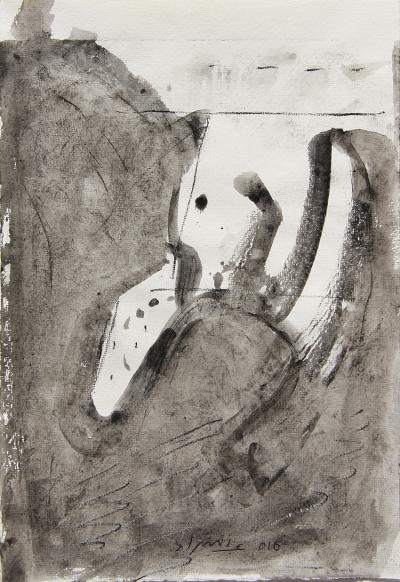 Untitled A11, mixed media on paper,  21 x 30 Cm