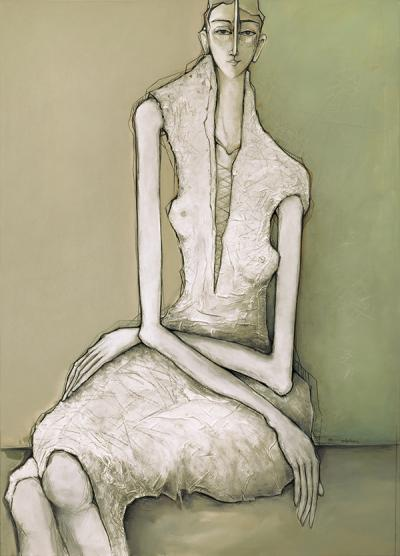 Seated Woman, 2016, Acrylic & mixed media on canvas, 140 x 100 cm
