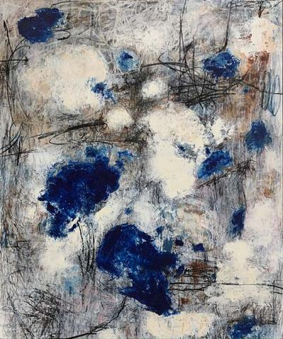 Our blue bubble, mixed media on canvas, 120x100cm