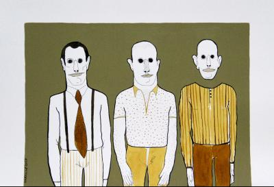 three men 1, 2016 , ink and acrylic on paper, 30x42 cm