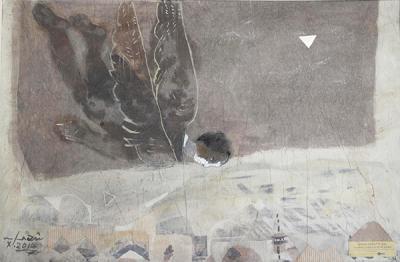 Icarus 7, 2015, mixed media  collage on vanvas, 54x37cm