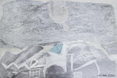 Icarus 6, 2015, mixed media  collage on vanvas, 54x37cm