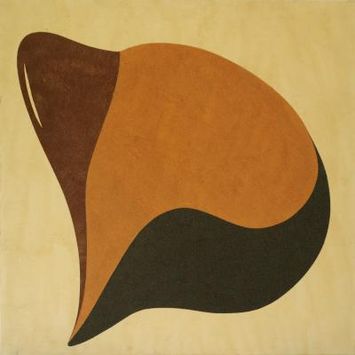 Waiting woman, 2012, Natural sand and acrylic on canvas, 100x100cm