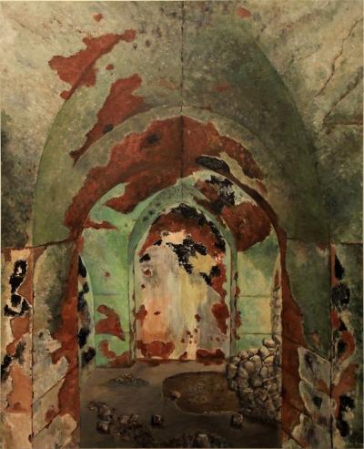 Ruins of Ain El Mrayssi 1, 2016, Acrylic on canvas, 150x120cm