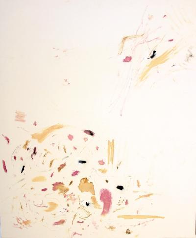 M'est apparu un soir, 2019, Rose on canvas, 165 x 200 cm