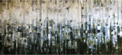 Home, 2017, Mixed media on canvas, 140 x 300 cm