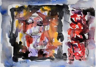 Untitled 1, 2013, Watercolor on cardboard, 38x46.5cm