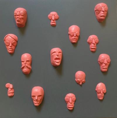 Faces 5, 2019, Resin acrylic on wood, 30 x 30 x 5 cm
