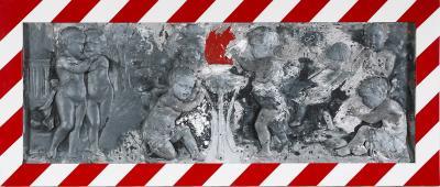 Cherubs, 2019, Mixed technique on gypsum mould, 66 x 153 cm