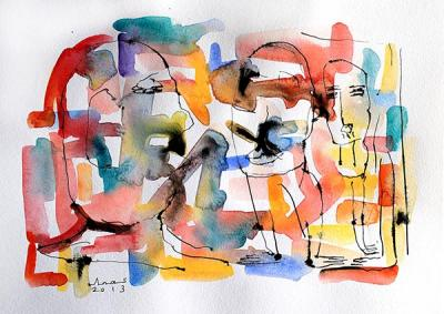 Untitled 9, 2013, Watercolor on cardboard, 38x46.5cm