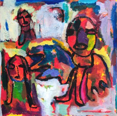 Historic speech, 100x100cm, mixed media on canvas, 2012