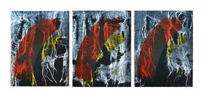 OMINOUS,2015,Monotype, Lithography on paper, Triptych, 70x150cm