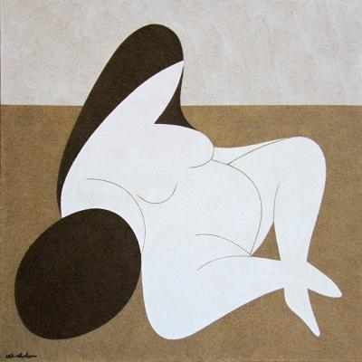 Woman, 2013, natural sand on canvas, 100x100cm